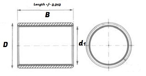 16 DU 08 Split Bush Bearing - DU Type Schematic