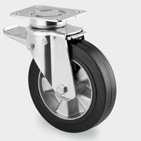 160mm Swivel Castor Wheel with Brake and Black elastic-tyre tread, 350kg load capacity