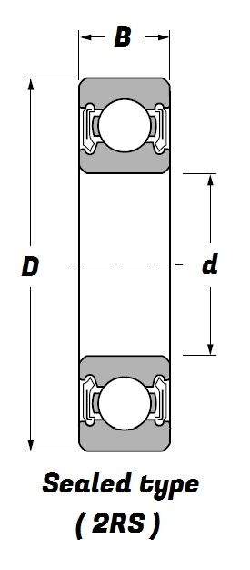 6204 2RSH, Deep Groove Ball Bearing with a 20mm bore - Premium Range Schematic