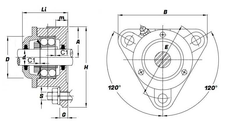 722513 db  triangular flanged housing for through shaft