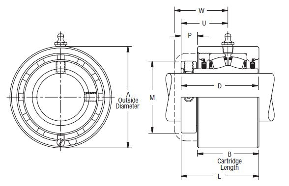 C B 22432 H, Linkbelt-Rexnord Spherical Roller Cartridge Unit with a 2 inch bore. Schematic