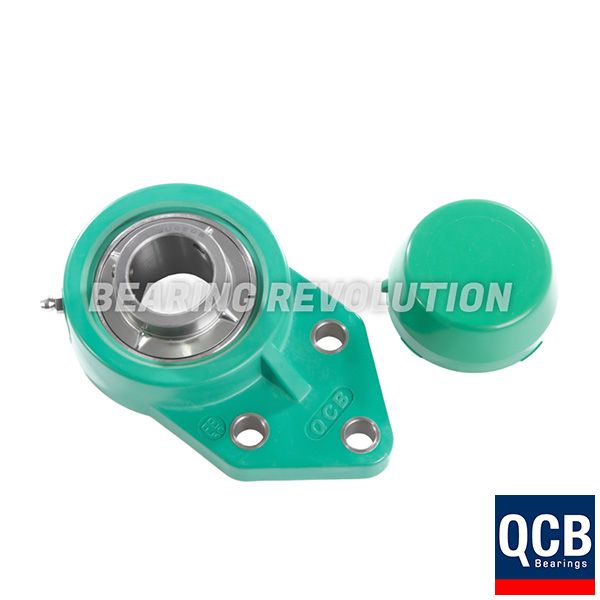 FBL 204 S/S N 6 GRN, Green Thermoplastic Flange Bracket Unit with a 20mm bore - Select Range