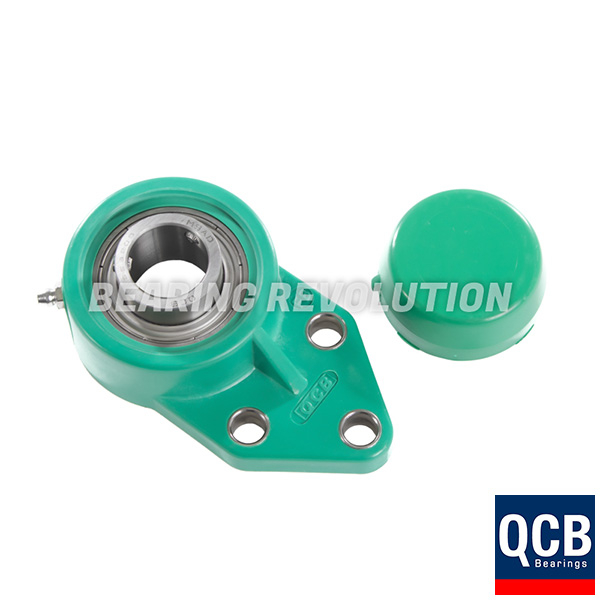 FBL 206 S/S N 6 AGRN, Green Thermoplastic Flange Bracket Unit with a 30mm bore - Select Range
