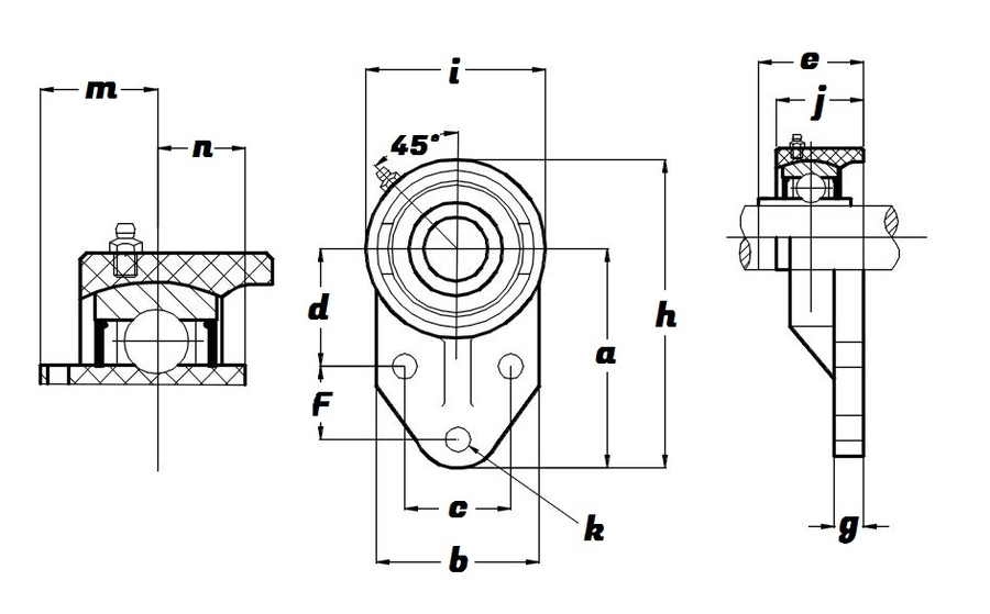 FBL 206 S/S N 6 AGRN, Green Thermoplastic Flange Bracket Unit with a 30mm bore - Select Range Schematic
