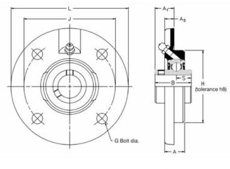 FC 1.3/4, 'Premium' Round Flange Unit with a 1.3/4 inch bore. Schematic