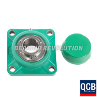 FPL 201 S/S N 6 GRN, Green Thermoplastic Square Flange Housing Unit with a 12mm bore - Select Range