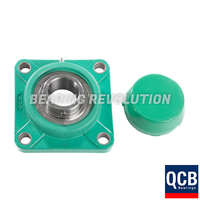 FPL 205 S/S N 6A GRN, Green Thermoplastic Square Flange Housing Unit with a 25 bore - Select Range