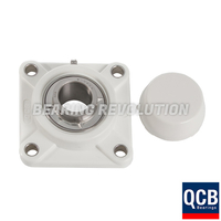 FPL 205 S/S N6 WHT, White Thermoplastic Square Flange Housing Unit with a 25 bore - Select Range