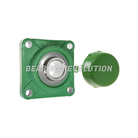 FPL 207 S/S N 6 GRN, Green Thermoplastic Square Flange Housing Unit with a 35mm bore - Budget Range