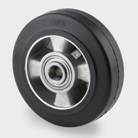 200mm Aluminium Castor Wheel with Black elastic-tyre tread and precision ball bearing, 450kg load capacity