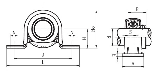 LPB 1 A ( SBPP 205 16 ) - Pillow Block Unit with a 1 inch bore - TR Lpb Schematic on