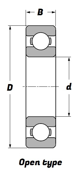 MJ .5/8 C3, Deep Groove Ball Bearing with a .5/8 inch bore - Budget Range Schematic