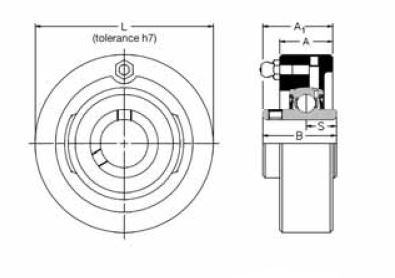MSC 1.7/16, 'Premium' Cartridge Bearing Unit with a 1.7/16 inch bore. Schematic