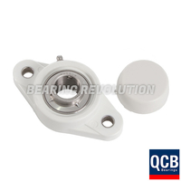 NFL 205 S/S N6 WHT, White Thermoplastic Oval Flange Housing Unit with a 25 bore - Select Range