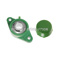 NFL 210 S/S N 6 GRN, Green Thermoplastic Oval Flange Housing Unit with a 50mm bore - Budget Range
