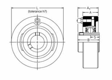 SLC 1.3/8, 'Premium' Cartridge Bearing Unit with a 1.3/8 inch bore. Schematic