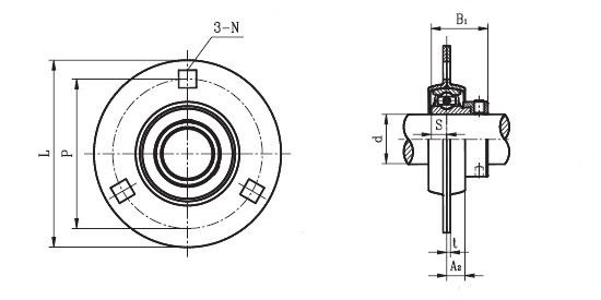 slfe 35 ec   sapf 207   - round housing flange unit with a 35mm bore